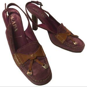 Prada Purple & Brown Suede Slingback Tassel Heels